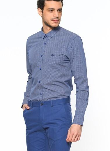 Beymen Business Desenli Uzun Kollu Gömlek Lacivert